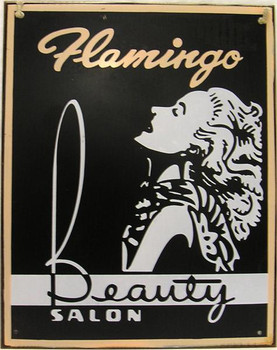 Flamingo Beauty Salon Rustic Metal Sign