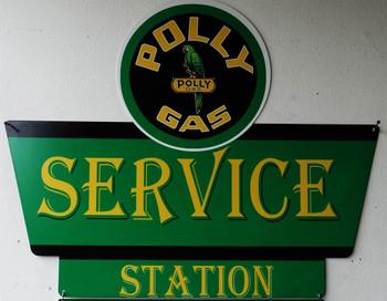 Polly Gas Service Station Plasma Cut Metal Sign