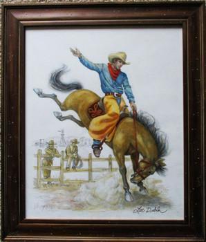 "Lee Dubin Framed Original Colored Pencil Sketch ""Buckin' Bronco"""