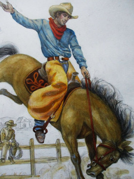 "Lee Dubin Framed Original Colored Pencil Sketch ""Buckin' Bronco"""