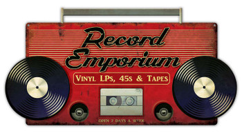 Record Emporium Plasma Cut Metal Sign