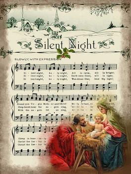 Silent Night Sheet Music Open Sleigh Ride Metal Sign