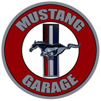 """Mustang Garage 14"""" Round Metal Sign"""
