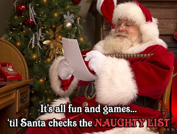 Naughty List Christmas Metal Sign