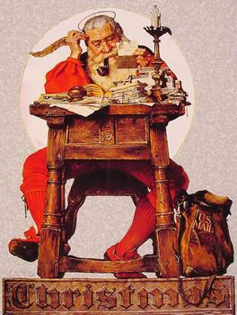 Santa Working on His Christmas List Metal Sign