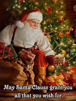 May Santa Grant You All that You Wish Metal Sign