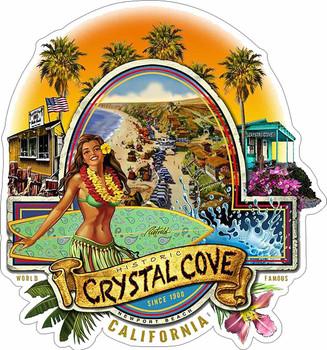 Historic Crystal Cove Newport Beach Plasma Cut Metal Sign