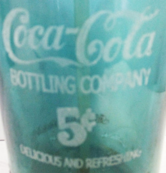 Blue/Green Seltzer Bottle Etched Coca-Cola Bottling Glass Circa 1940's