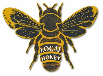 Local Honey Bumble Bee Plasma Cut Metal Sign