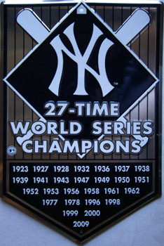 NY Yankees 27-Time World Series Champions Embossed Aluminum Sign