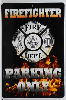 Firefighter Parking Only Embossed Sign