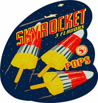 Sky Rocket Pops Plasma Cut Metal Sign