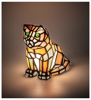 """Green eyed Orange Cat 7"""" Stained Glass Accent Lamp"""