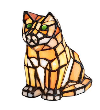 "Green eyed Orange Cat 7"" Stained Glass Accent Lamp"