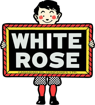 White Rose Gasoline Boy Plasma Cut Metal Sign