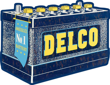 Delco Battery Plasma Cut Metal Sign