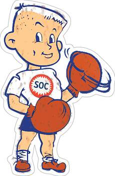 Standard Oil Company, SOC Boy Plasma Cut Metal Sign