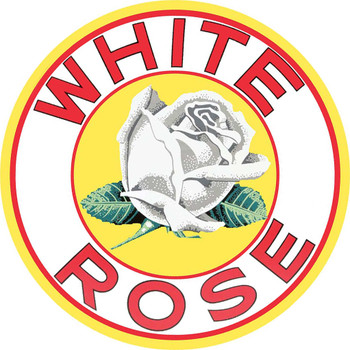 "White Rose Gasoline 14"" Round Metal Sign"