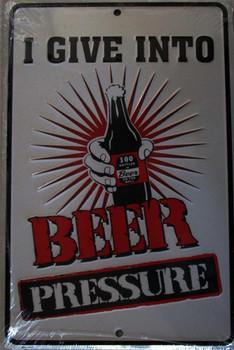 Beer Pressure-Embossed Aluminum Sign