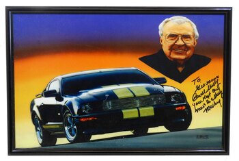 Signed Carroll Shelby Mustang Metal Sign by Carroll Shelby