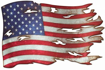 "Tattered Flag Plasma Cut Metal Sign 18"" x 12"""