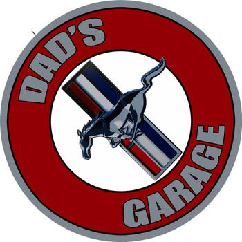 """Dad's Mustang Garage 14"""" Round Metal Sign"""