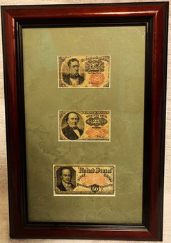 Circulated Framed Fractional Currency 10c, 25c, 50c