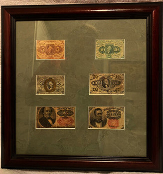 Circulated Framed Fractional Currency 5c, 10c, 25c