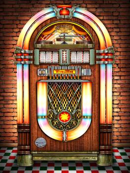 Jukebox Against Brick Wall by Michael Fishel