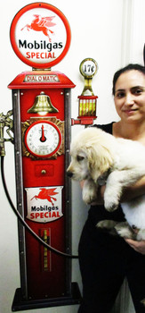 "Mobilgas Clock Face Gas Pump by Michael Fishel Plasma Cut Sign 62"" by 19"""