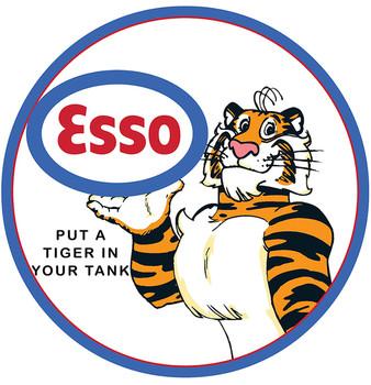 """Esso Tiger 12"""" Premium Motor Oil Round Metal Disk"""