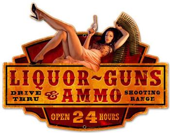 Liquor Guns Ammo Pin-Up Plasma Cut Metal Sign