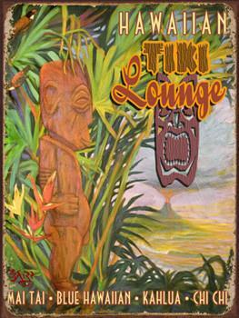 Hawaiin Tiki Lounge Metal Sign