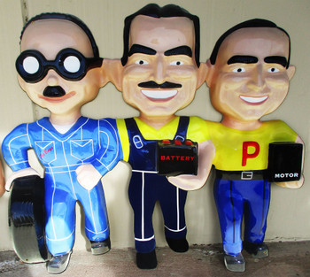 """Manny Moe and Jack The Pep Boys Plasma Cut Metal Sign 48"""" by 42"""""""