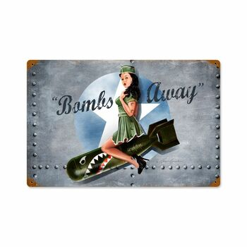 Bombs Away Pin Up Bomber Art Metal Sign