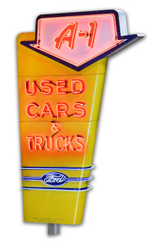 A-1 Used Cars & Trucks Ford Neon Style Plasma Cut Metal Sign