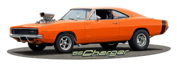 1968 Blown Orange Charger Plasma Cut Metal Sign by Larry Grossman