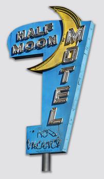 Half Moon Motel No Vacancy Plasma Cut Metal Sign