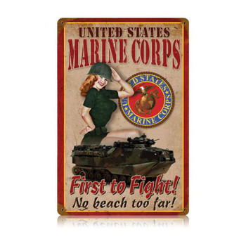 USMC First to Fight Pin Up Met6al