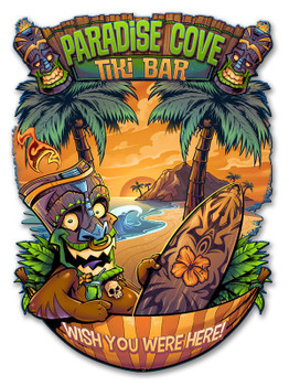 Paradise Cove Tiki Bar Plasma Cut Metal Sign