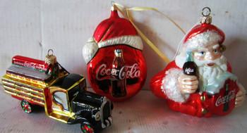 Set of 3 Coca-Cola Christmas Ornaments