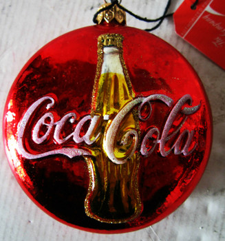 Coca-Cola Button with Gold Bottle Glass Ornament
