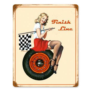 Finish Line Pin Up Metal Sign