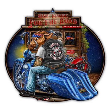 One More For the Road Motorcycle Plasma Cut Metal Sign