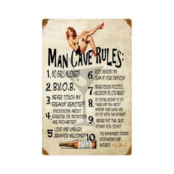 Man Cave Rules Pinup Vintage Sign