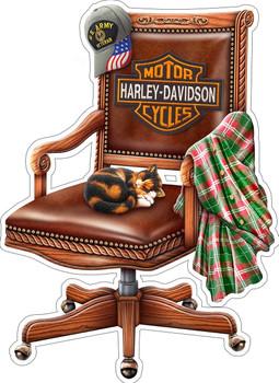 Harley Davidson Chair with Sleeping Cat Plasma Cut Metal Sign by Michael Fishel