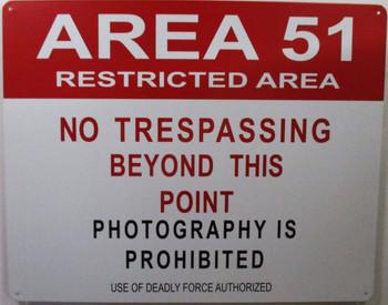 Area 51-No Trespassing Metal Sign