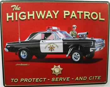Highway Patrol Hot Rod Metal Sign