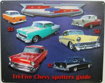 Tri Five Spotter Guide Metal Sign