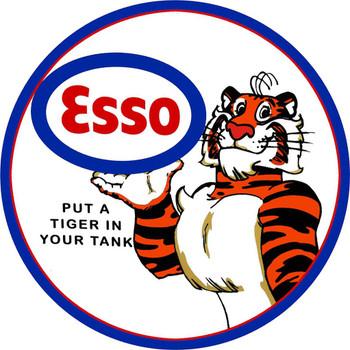 """Esso Tiger 14"""" Premium Motor Oil Round Metal Disk"""